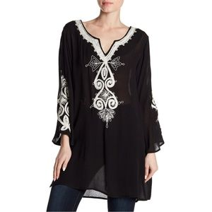Long Flared Sleeve Black Embroidered Tunic
